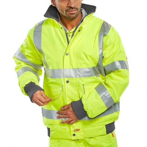 BSeen Hi Vis Yellow Super Bomber Jacket